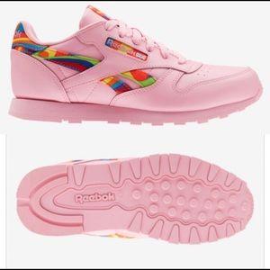 Reebok Classic Leather Pink Rainbow Detail